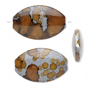 bead, acrylic, brown and grey, 50x32mm puffed oval. sold per pkg of 10.