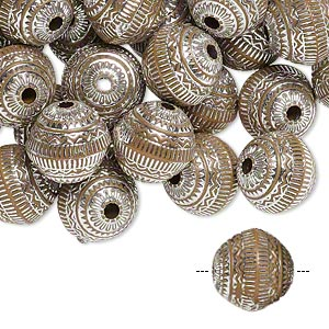 bead, acrylic, brown and silver, 11mm round with line design, 2mm hole. sold per pkg of 100.