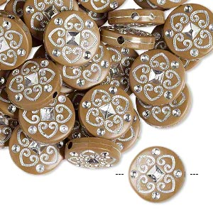 bead, acrylic, brown and silver, 18mm double-sided flat round with spade design, 2mm hole. sold per pkg of 50.