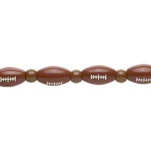 bead, acrylic, brown and white, 7x5.5mm crow and 17x10mm football. sold per 11-inch strand.