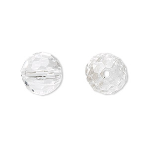 bead, acrylic, clear, 12mm faceted round. sold per 100-gram pkg, approximately 100 beads.