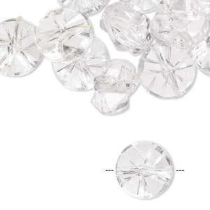 bead, acrylic, clear, 13mm faceted flat round. sold per pkg of 24.