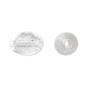 bead, acrylic, clear, 16x11mm faceted oval. sold per 100-gram pkg, approximately 80 beads.