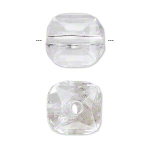 bead, acrylic, clear, 17x15mm faceted cube. sold per 100-gram pkg, approximately 30 beads.