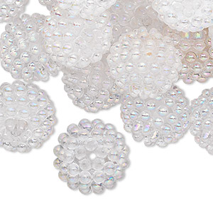 bead, acrylic, clear ab, 15mm round with razzleberry design. sold per pkg of 50.