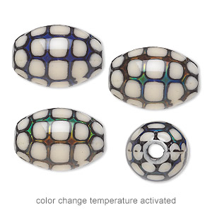 bead, acrylic, cream and multicolored, 19x13mm color-changing barrel with turtle shell pattern. sold per pkg of 4.