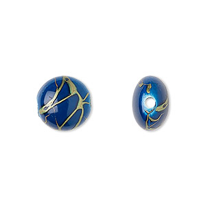 bead, acrylic, dark blue and gold, 12mm puffed flat round with swirls. sold per pkg of 160.