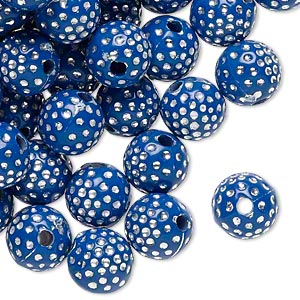 bead, acrylic, dark blue and silver, 10mm round with dots, 2mm hole. sold per pkg of 100.