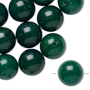 bead, acrylic, dark green with gold-colored glitter, 14mm round. sold per pkg of 24.
