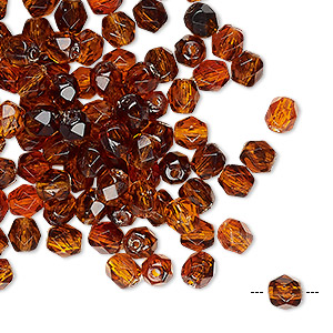 bead, acrylic, dark honey, 5mm faceted round. sold per pkg of 100.