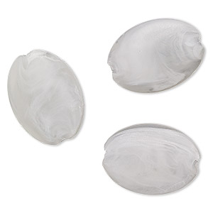 bead, acrylic, frosted marbled translucent clear and opaque white, 38x28mm puffed oval with 5.5mm hole. sold per pkg of 3.