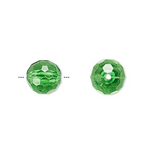 bead, acrylic, green, 10mm faceted round. sold per 100-gram pkg, approximately 170 beads.