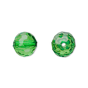 bead, acrylic, green, 12mm faceted round. sold per 100-gram pkg, approximately 100 beads.