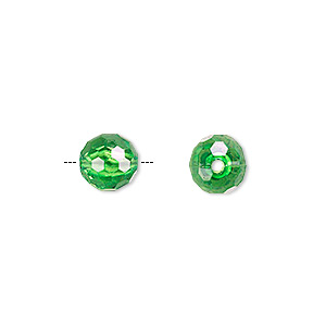 bead, acrylic, green, 8mm faceted round. sold per 100-gram pkg, approximately 330-390 beads.