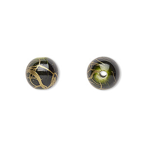 bead, acrylic, green and gold, 10mm round with swirls. sold per pkg of 200.