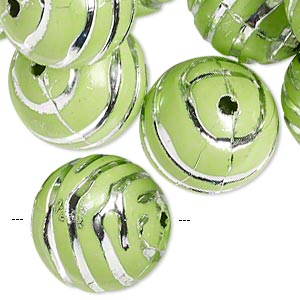 bead, acrylic, green and silver, 18mm round with line design, 2.5mm hole. sold per pkg of 24.
