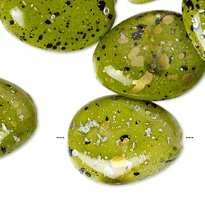 bead, acrylic, green with gold / silver / black speckles, 25x19mm flat teardrop. sold per pkg of 40.