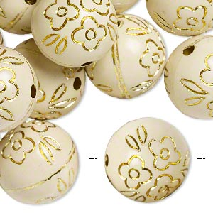 bead, acrylic, ivory and gold, 18mm round with flower design, 2.5mm hole. sold per pkg of 24.