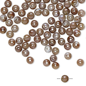 bead, acrylic, marbled brown and multicolored, 4mm round. sold per pkg of 100.