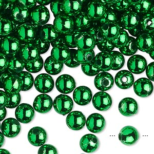 bead, acrylic, metallic emerald green, 6mm round. sold per 100-gram pkg, approximately 750-950 beads.