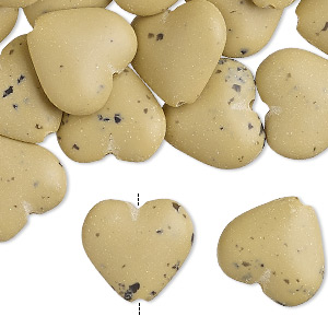 bead, acrylic, opaque matte tan and black, 15x14mm puffed heart with speckles. sold per pkg of 30.