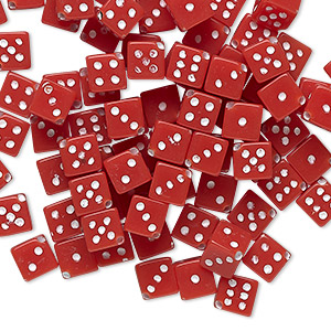 bead, acrylic, opaque red and white, 5mm dice. sold per pkg of 100.