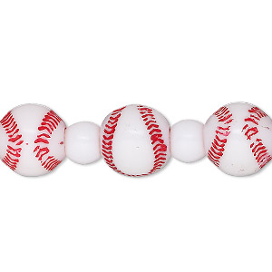 bead, acrylic, opaque red and white, 7x5.5mm crow and 11mm baseball with 3.3-3.6mm hole. sold per 8-inch strand.