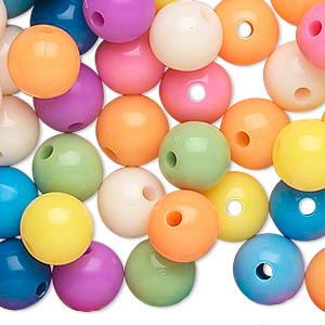bead, acrylic, opaque summer colors, 10mm round. sold per pkg of 288 (2 gross).