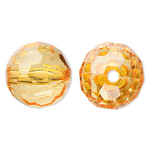 bead, acrylic, orange, 20mm faceted round. sold per 100-gram pkg, approximately 20 beads.