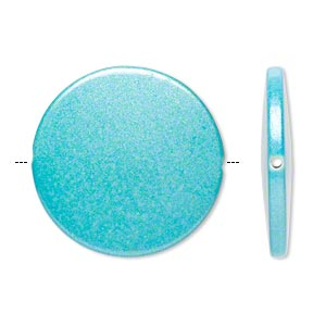 bead, acrylic, pearlized turquoise blue, 41mm flat round. sold per pkg of 14.