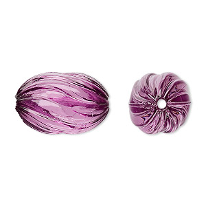 bead, acrylic, purple, 20x13mm fluted oval. sold per 100-gram pkg, approximately 50 beads.