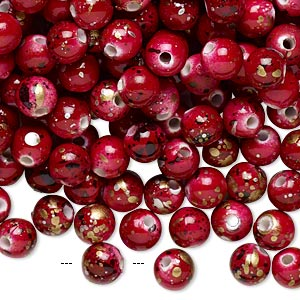 bead, acrylic, red with gold/silver/black speckles, 6mm round. sold per pkg of 800.