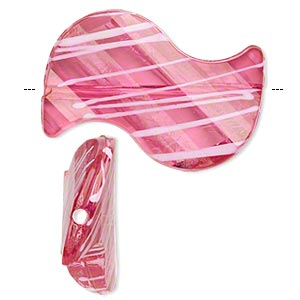 bead, acrylic, semitransparent fuchsia and white, 35x23mm s-shape with painted line design. sold per pkg of 24.