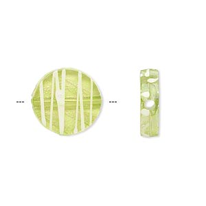 bead, acrylic, semitransparent green and white, 15mm flat round with painted line design. sold per pkg of 140.
