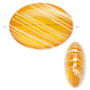 bead, acrylic, semitransparent orange and white, 33x24mm puffed oval with painted line design. sold per pkg of 18.