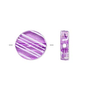 bead, acrylic, semitransparent purple and white, 15mm flat round with painted line design. sold per pkg of 140.