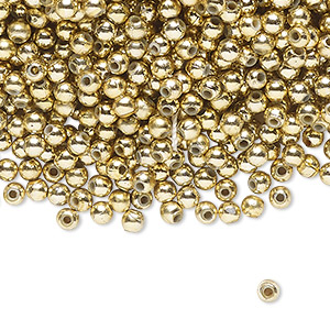 bead, acrylic, shiny metallic gold, 3mm round. sold per pkg of 4,500.