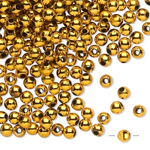 bead, acrylic, shiny metallic gold, 4mm round. sold per 100-gram pkg, approximately 3,400-3,600 beads.
