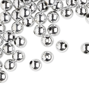 bead, acrylic, shiny metallic silver, 10mm round with 2.4-2.5mm hole. sold per 200-gram pkg, approximately 300-400 beads.