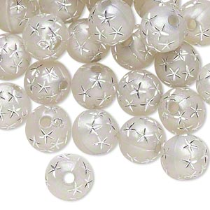 bead, acrylic, silver, 8mm round with stars, 1.75mm hole. sold per pkg of 100.
