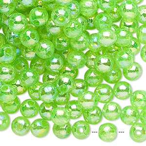 bead, acrylic, translucent lime ab, 6mm round. sold per 100-gram pkg, approximately 900-1,000 beads.