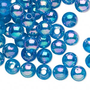 bead, acrylic, translucent turquoise blue ab, 8mm round with 2.4-2.5mm hole. sold per 200-gram pkg, approximately 800-900 beads.