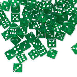 bead, acrylic, transparent green and opaque white, 5mm dice. sold per pkg of 100.