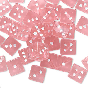 bead, acrylic, transparent pink and opaque white, 7.5mm dice. sold per pkg of 50.