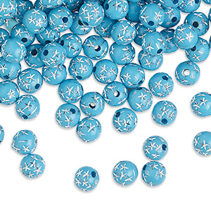 bead, acrylic, turquoise, 8mm round with stars. sold per 50-gram pkg, approximately 160-180 beads.