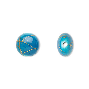 bead, acrylic, turquoise blue and gold, 12mm puffed flat round with swirls. sold per pkg of 160.