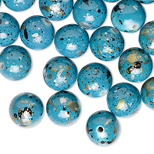bead, acrylic, turquoise blue with gold/silver/black speckles, 10mm round. sold per pkg of 170.