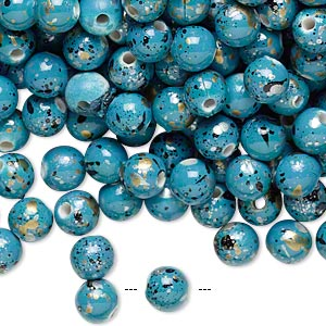 bead, acrylic, turquoise blue with gold/silver/black speckles, 6mm round. sold per pkg of 800.