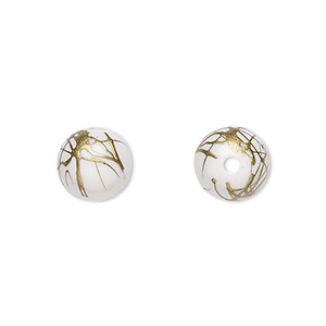 bead, acrylic, white and gold, 10mm round with swirls. sold per pkg of 200.