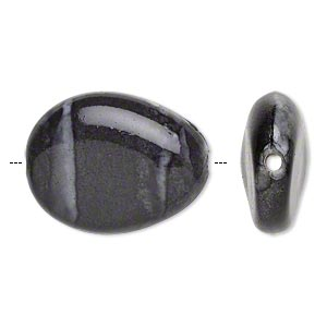 bead, acrylic, white and grey, 25x19mm puffed teardrop. sold per pkg of 40.